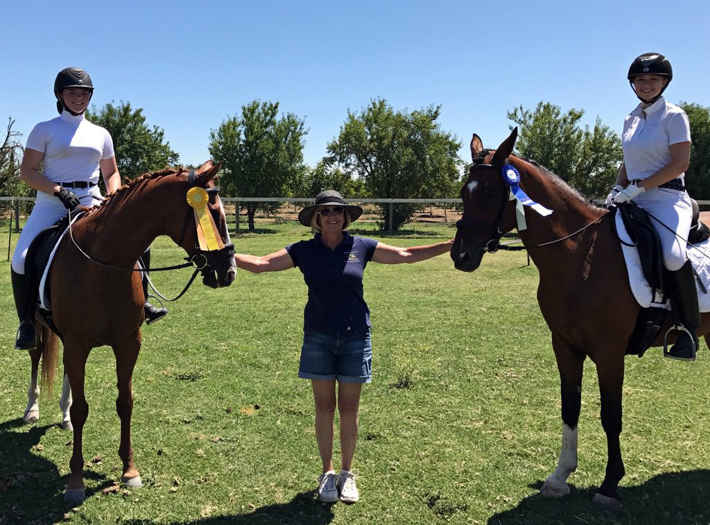 Emily and Lydia Dressage in the Almonds July 2017